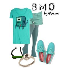"""Inspired Look: BMO from Adventure Time!"" by callmemasian on Polyvore! follow her fashion blog at http://styledbymasian.tumblr.com!"
