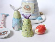Ceramic Clay Miniature Tree with Bird and by CynthiaCranesPottery