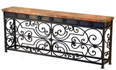 The Gate console table is highlighted by spectacular iron work that mirrors and a long hammered copper top. Being almost six feet long, this console is perfect for a bold statement of southwestern style in any hallway or living room. Copper Furniture, Iron Furniture, Iron Console Table, Iron Table, Mexican Furniture, Western Furniture, Foyer Decorating, Tuscan Decorating, Mediterranean Style Decor