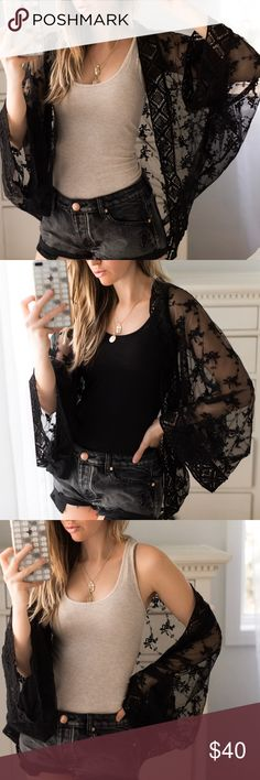 🆕Festival Lace Kimono ☀️Gorgeous kimono in black lace with crochet trim. Such a pretty and feminine piece for festival season, summer days, wearing over your bathing suit, etc! High quality and premium label.  ▫️Material: Cotton/Poly ▫️I am modeling S ▫️New ▫️Wearing with my Rosé Shorts, Soft Racer Tanks, Necklaces also available  Price is firm, 10% off bundles of 3+  📷Photos are my own 11thstreet Tops