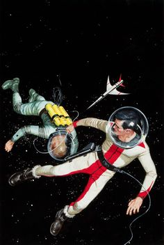ED VALIGURSKY (American, 1926-2009) To the Tromaugh Station, Ace Double D-479 paperback cover 1950s or 1960s, Gouache and tempera on board.