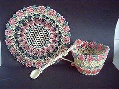 Quilled Tea Cup, Saucer and Spoon