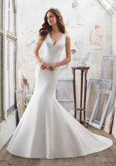 Morilee by Madeline Gardner 'Marlena' 5506 | The Perfect Combination of Simple and Chic, This Larissa Satin Fit & Flare Wedding Dress Features Stunning Crystallized Back Detail. Covered Buttons Trim the Back and Train. Colors Available: White/Silver, Ivory/Silver. Shown in Ivory/Silver.