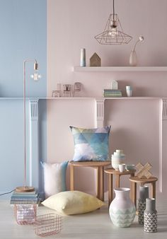 New Freedom Autumn/Winter 2015 New Nordic pastels homewares, via we-are-scout.com. Pretty pastels with rose gold accents and blonde Scandi timber.