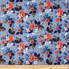 Cotton + Steel Rifle Paper Co. Les Fleurs Birch Periwinkle