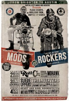 Mods (Vespas) vs the Rockers (Racers) ~ great typography on this poster Motos Vintage, Vintage Motorcycles, Vintage Ads, Vintage Posters, British Motorcycles, Vintage Room, Vintage Designs, Motorcycle Posters, Motorcycle Art