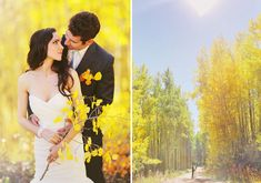 aspen fall bride and groom / right-side photo, styled by Natalee Ozbirn