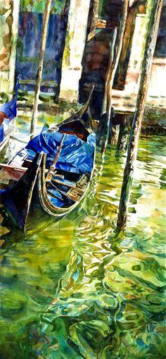 """Saatchi Online Artist: stephen zhang; Watercolor, Painting """"Venice Alleys No. 3"""""""