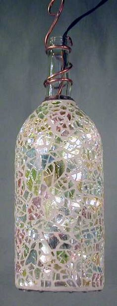 Mosaic Garden bottle light- This is sooo Kelly- We need to make this for your patio light (This is a wine bottle) Mosaic Crafts, Mosaic Projects, Mosaic Art, Mosaic Glass, Glass Art, Mosaics, Stained Glass, Wine Bottle Art, Wine Bottle Crafts