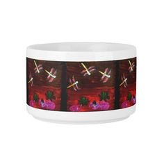Dragonfly Lily Pond, Colorful Abstract Art Small Soup Bowl With Handle