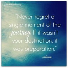 Never Regret a Single Moment of The Journey    Never regret a single moment of the journey. If it wasn't your destination, it was preparation.