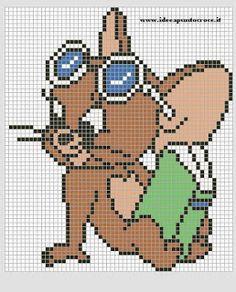 Tom e Jerry Disney Cross Stitch Patterns, Cross Stitch For Kids, Cross Stitch Designs, Pixel Crochet Blanket, Tapestry Crochet, Tom Et Jerry, Graph Paper Drawings, Modele Pixel Art, Anime Pixel Art