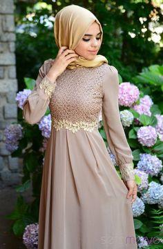 Tesettür Elbise FY 51983-03 Vizon