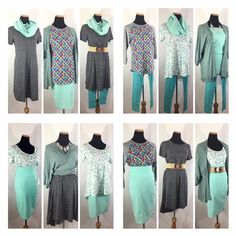 LuLaRoe travel capsule...1 Carly, 1 Cassie, 1 Randy, 1 Perfect or Classic, 1 Leggings and a Lindsey...how cute!