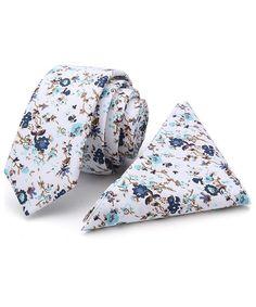 Levao Mens Solid Color Cotton Tie Skinny Linen Neckties /& Pocket Square Set