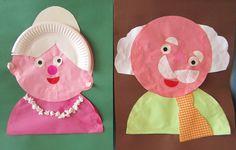 oma en opa knutselen van cirkels en papieren bordjes