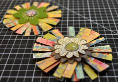 Flower Embellishments from Scraps :: Amy Heller paper flowers SCRAP PAPER STRIPs. I love this and bet you could make these with strips of material also. Maybe a Brooch Scrapbook Paper Projects, Scrapbooking Ideas, Scrapbook Paper Flowers, Easy Paper Flowers, Diy Flowers, Flower Diy, Diy Papier, Paper Strips, Crate Paper