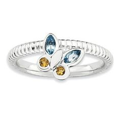 Stackable Expressions Sterling Silver Blue Topaz & Citrine Butterfly Ring
