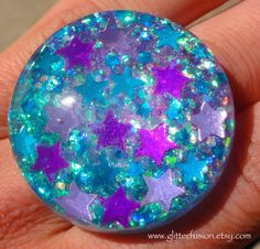 Turquoise Amethyst and Pink Stars Blue Opalescent by GlitterFusion