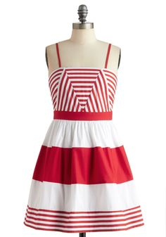 Spin Time Alone Dress - Short, Red, White, Stripes, Casual, A-line, Spaghetti Straps, Summer, Nautical, Fit & Flare