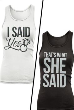 OMG MUST HAVE THESE! I Said Yes - That's What She Said - adorable bachelorette party shirts by TumbleRoot