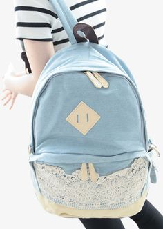 Light Blue Backpack With Lace
