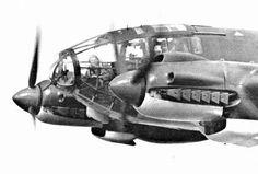 Excellent closeup of a German bomber Heinkel 111 H in flight.