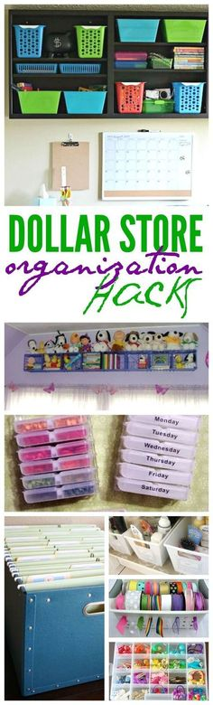 DIY Dollar Store Organization Tips! Great ideas for cleaning out and getting organized!