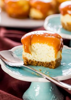 Mini Salted Caramel Cheesecakes - creamy bite-sized cheesecakes with a graham cracker crust and topped with a delicious salted caramel.