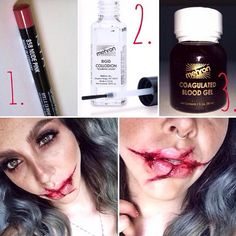 """Use @nyxcosmetics """"nude pink"""" lip pencil to sketch on the scars. Set it with a little translucent powder. Next take the @mehronmakeup rigid collodion (note it's stinky smelling!) and use the small brush to trace over the sketched scar. (It may tingle a little or fe"""
