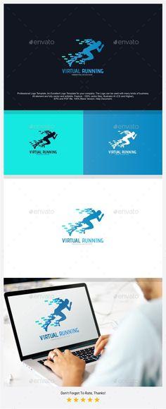 Virtual Running Logo — Photoshop PSD #vr #digital • Available here → https://graphicriver.net/item/virtual-running-logo/18125715?ref=pxcr