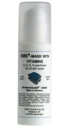 DMS®-Mask with Vitamins Prevents against vitamin deficiency symptoms of the skin. Containing Vitamins A, C, E combined with D-Panthenol, the mask is suitable for all skin types and is free of emulsifiers. Apply the cream to your skin in a circular motion. Once absorbed, gently pat a dry tissue to the skin to remove any excess. There is no need for removal of the mask and it acts as a good base for further skin care. #Skin Correction #dermaviduals