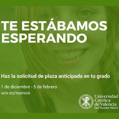 Recuerda!!!! Hasta el 5 de febrero puedes realizar tu reserva de plaza anticipada para estudiar con nosotros #TuGradoUCV
