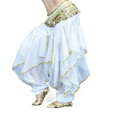 Jellyfish? Pants in light blue, skirt in white, top in . . . white?   Amazon.com: BellyLady Belly Dance Exotic Tarantella Harem Pants, Halloween Costume: Clothing