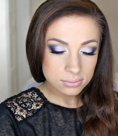 whismical fairy look with hues of purple and blue. could also look good in silver or pink