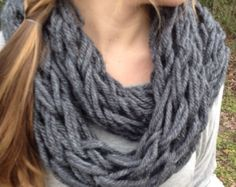 Arm knit chunky cowl