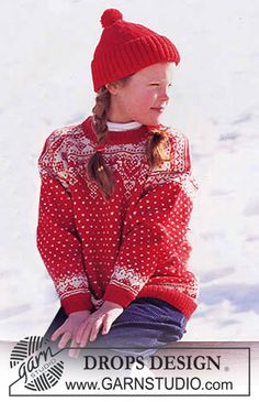 Free pattern: DROPS Sweater and hat in Karisma Superwash with snow crystals and dots.
