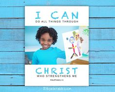 Custom Kids Art Print I can do all things by Working On Sunday, Printable Bible Verses, Have A Blessed Day, High Resolution Photos, Creative Kids, I Can, Art For Kids, All Things, Custom Design