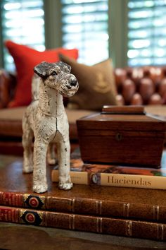 """the adventures of tartanscot™: """"SMW Design, The Library . """" That is a darling Terrier! Wire Fox Terrier, Fox Terriers, English Country Style, Art Deco, Vintage Dog, Vintage Items, Home And Deco, Ralph Lauren, Wood Design"""