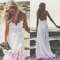 Boho summer beach wedding dresses a line spaghetti straps lace bodice chiffon skirt backless open back white wedding gown - Thumbnail 4