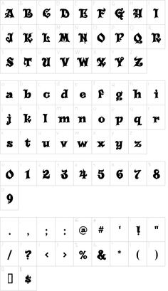 Carousel font character map