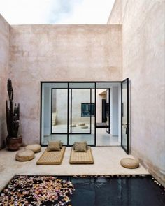 Maison Palmeraie // Marrakech, Marocco - designed by architect Helena Marczewski and Belgian interior designer Esther Gutmer Interior Exterior, Exterior Design, Interior Architecture, Amazing Architecture, Landscape Architecture, Outdoor Rooms, Outdoor Living, Indoor Outdoor, Outdoor Yoga