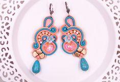Soutache turquoise peach crystal handmade teardrop earrings gift for her by nikuske on Etsy Soutache Bracelet, Soutache Jewelry, Earrings Handmade, Handmade Jewelry, Beautiful Gift Boxes, Jewelry Party, Handmade Design, Teardrop Earrings, Gifts For Her