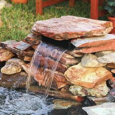 Features: -Creates a disappearing water feature. -The waterfall spillway can work with any size pond. -Pump is required for water to fall into the large pond. Pond Waterfall, Small Waterfall, Waterfall Design, Swimming Pool Waterfall, Backyard Water Feature, Ponds Backyard, Backyard Ideas, Pond Ideas, Garden Ideas