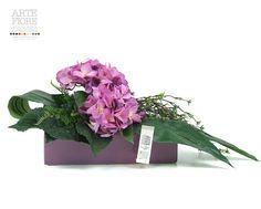 Composizione floreale fiori artificiali in tessuto: Ortensie in vaso ceramica