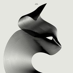 Diseños de animales basados en 2 líneas Ilustraciones con líneas intrincadas