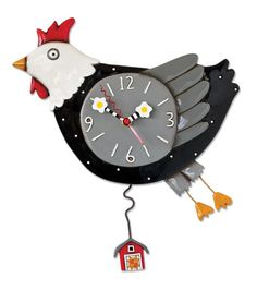 """Flew the Coop Chicken Pendulum Wall Clock. This chicken wall clock is so cute. Cluck cluck… Chickens may occasionally fly briefly to explore their surroundings but generally do so only to flee perceived danger... This black and white chicken wall clock must have seen a predator the way he is flying through the air! With unique """"sunny side up"""" egg clock hands and swinging barn pendulum. Comes with one AA battery."""