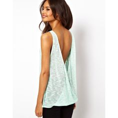ASOS Tank in Cut and Sew with Open Twist Back ($16) found on Polyvore featuring tops, mint, twist back tank, see through tops, scoop neck top, mint top and see through tank top