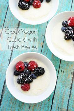 Greek Yogurt Custard with Fresh Berries | farmgirlgourmet.com #lowsugar #lowfat
