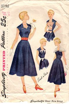 1940s Simplicity 3146 Vintage Sewing Pattern by midvalecottage